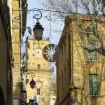 Holiday decorations remain in the old city of Aix-en-Provence