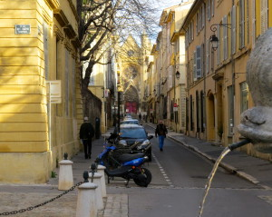 A scene from Aix's Mazarin district, where the bridge club is located.