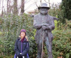 A fellow student (Kathy) with Paul Cezanne.