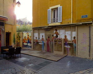 This mural, in Aix's Place Ramus, sits across from Le Bistroquet restaurant.