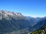 As it rises, a panorama opens of the Chamonix Valley and the range south of the city.