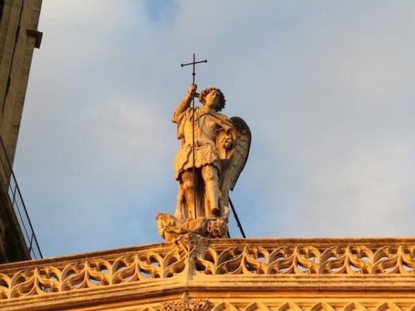 A statue on Aix's Saint Sauveur